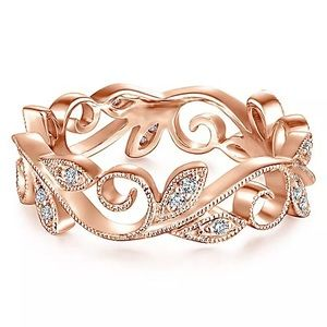 Rose Gold Vine AAA CZ ring size 9